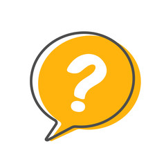 Question mark icon. Help speech bubble isolated on white background. Vector stock.