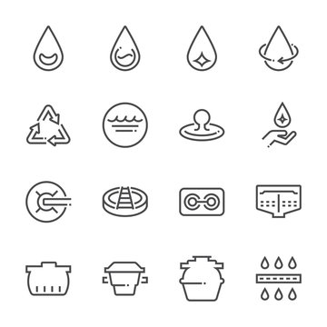 Water treatment plant and septic tank icon set, 48x48 perfect pixel and editable stroke.