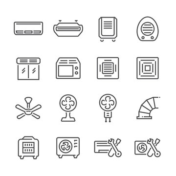 Air conditioner and air compressor icon set, editable stroke.