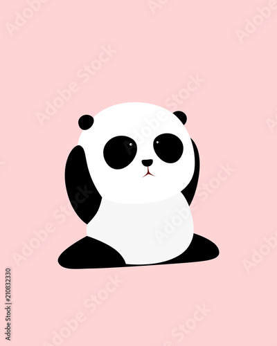 Vector Illustration A Cute Cartoon Giant Panda Is Sitting On The