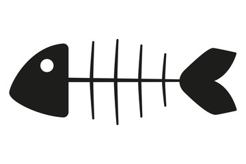 Black and white fish skeleton silhouette