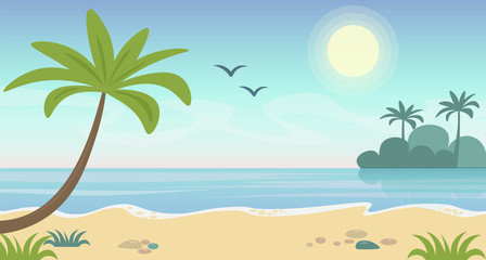 Vector illustration of beautiful seaside tropical landscape. Summer concept with beach and palm trees, blue water, flat cartoon style.