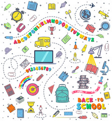 Concept of education. School background with hand drawn school supplies. Alphabet and numbers. Back to School lettering colored letters.