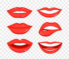 Vector illustration collection of red lips on transparent background. Beautiful women mouth in different positions in flat cartoon style.