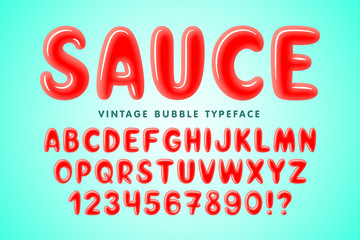 Glossy bubble comical font design, colorful alphabet