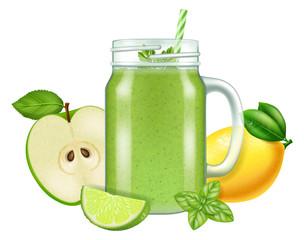Raw fresh green smoothie in a mason jar mug. Vector illustration.