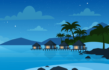 Vector illustration of hotel on the tropical beach in night time. Villa on beautiful sea shore. Vacation concept in flat style.