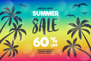 Summer Sale - shiny poster with palms and seagulls. Vector.