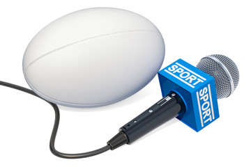 Rugby News concept. Microphone sport news with rugby ball, 3D rendering