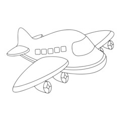Airplane cartoon illustration isolated on white background for children color book
