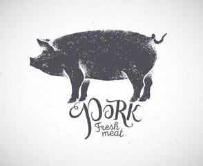 Pig in silhouette style, pork label drawn by hand.