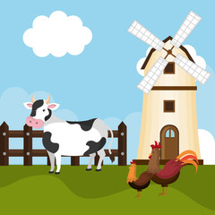 animals in the farm scene vector illustration design
