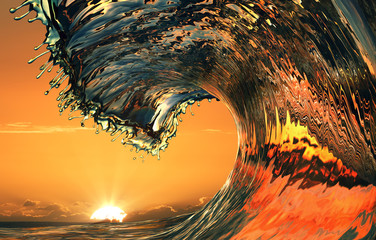 Beautiful ocean wave, sea water rip curl