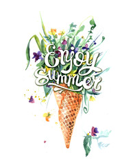 Hand drawn watercolor illustration wildflowers ice cream.