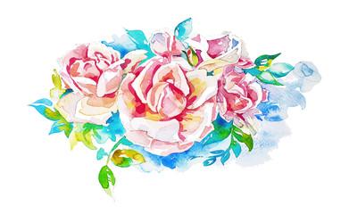 original hand painting watercolor roses