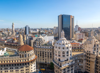 Aerial view of downtown Buenos AIres and Bencich Building Dome - Buenos Aires, Argentina