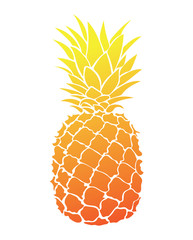 Cartoon pineapple. Colorful print of fresh pineapple. Picture of an exotic fruit. Fresh vitamins for children.