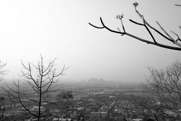 Black and white photo view of Ratchaburi,Thailand