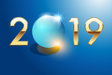 2019 - boule de cristal - carte de vœux - avenir - prévoir - futur - voyante - astrologie - devin