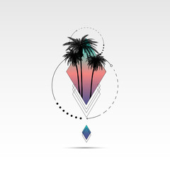 T shirt graphics, Vector print design, California typography and sunglasses with palm trees