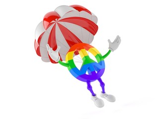 Peace symbol character with parachute