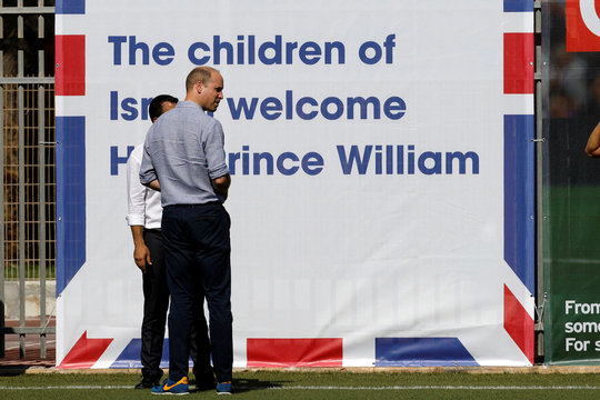 Britain's Prince William attends a soccer event organized by The Equalizer and Peres Center for Peace in Jaffa