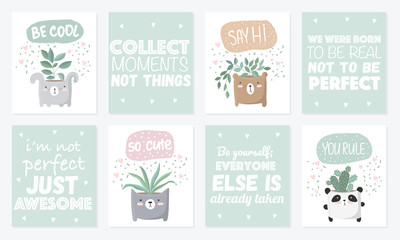 Vector set of cute postcards with house plant in funny animal pot.