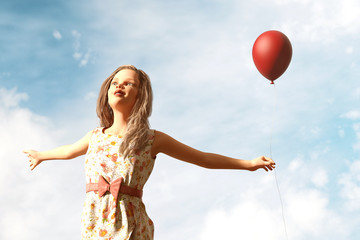 Girl with red balloon,3d illustration