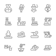 Food processing and production line icon set, 64x64 perfect pixel and editable stroke.