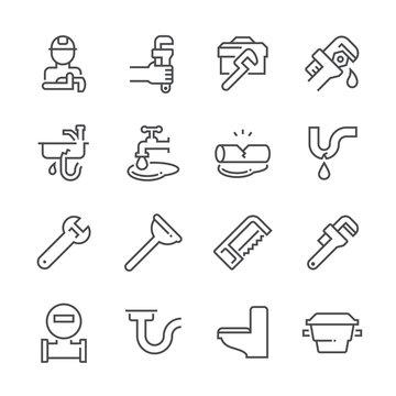 Plumber and plumbing tool icon set.
