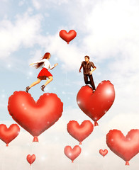 Couple jumping or running on red heart balloons,3d illustration