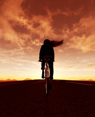 Girl riding bicycle in street outdoors at sunrise or sunset,3d illustration