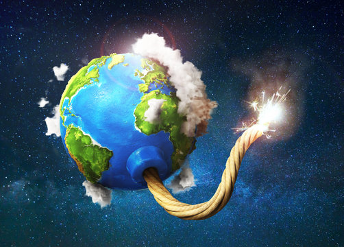 Eco concept. Planet with clouds as bomb with fired wick on space background. 3d illustration