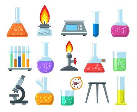 Beakers and burners. Vector beaker and burner set isolated on white background, chemical laboratory glassware