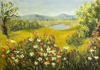 Wild flowers landscape - acrylic painting