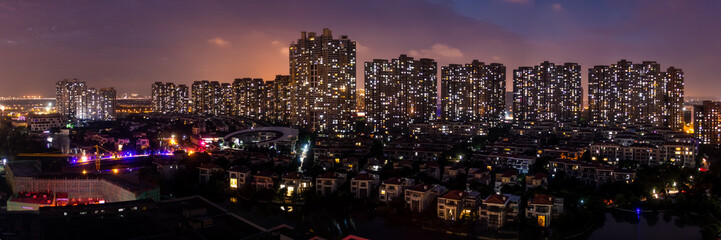 Night Scene of Modern Urban Neighborhood Architecture in Kunshan, Suzhou,China Wall mural