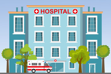 Ambulance car,hospital or clinic building with plants and trees