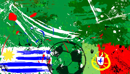 uruguay vs. portugal grunge soccer / football vector, portugal