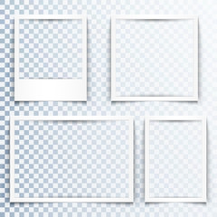 Blank white frames with realistic drop shadow effect. Borders with 3d shadows. Set of four empty photo frame templates