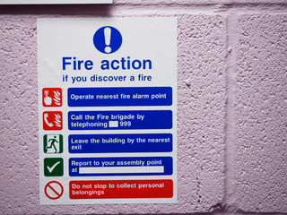 Health and Safety Fire Action Assembly Point UK Sign