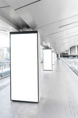 Digital media blank white screen modern panel, signboard for advertisement design in a shopping center, gallery. Mockup