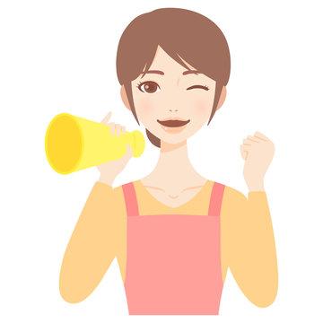 メガホンを持って応援をする若い主婦 エプロン 美人 フラット イラスト