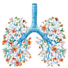 Illustration of lungs with blooming flowers