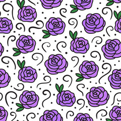 Vector Roses sketch seamless texture pattern. Hand drawing flowers with curls.