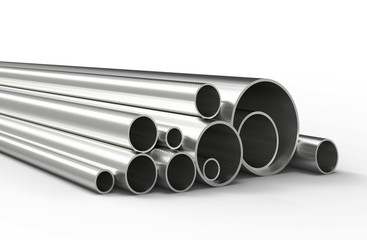 Silver pipes isolated on white background. 3D rendering.