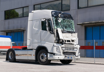 lorry crashed windshield. camion after the accident. broken truck
