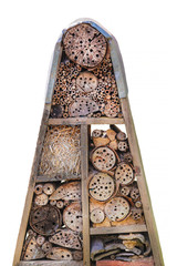 Insect hotel with wooden natural shelters