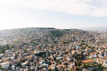Izmir cityKadifekale region top view from a helicopter