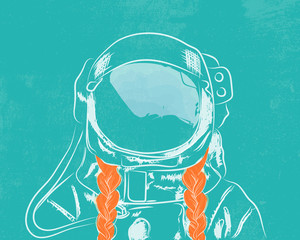 Cosmonaut girl with two bright braids on blue background