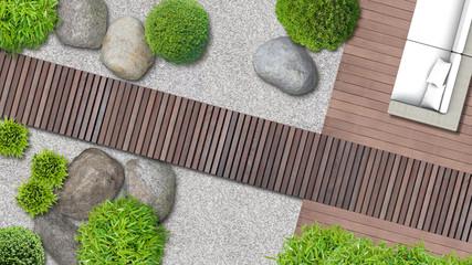 Minimalistischer japanischer Zen Garten mit Terrasse und Holzweg von oben